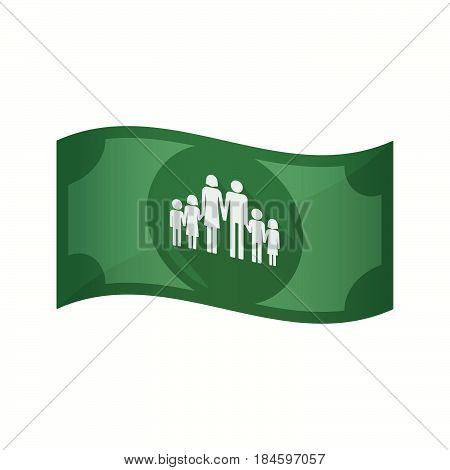 Isolated Bank Note With A Large Family  Pictogram