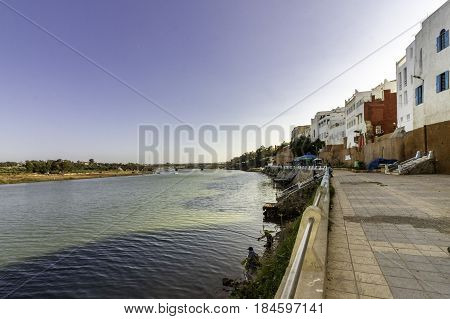 Azemmour view from ancient fortress walls built in stone and adobe to Oum Er-Rbia river El Jadida Morocco.
