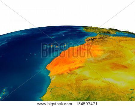 Western Sahara On Model Of Planet Earth