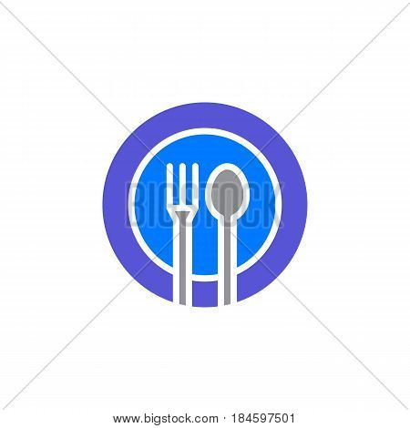 Fork spoon dish icon vector filled flat sign solid colorful pictogram isolated on white. Restaurant food court symbol logo illustration