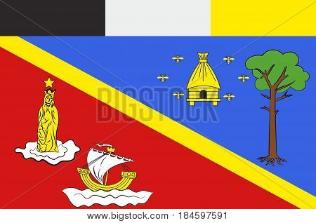 Flag of Arcachon is a commune in the Gironde department in southwestern France. Vector illustration