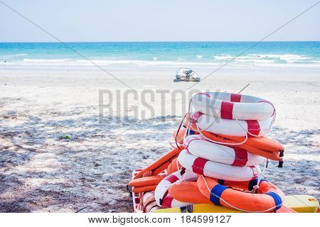 ring bouy and rescue tube put on the long spinal board on the beach for help victim drowning