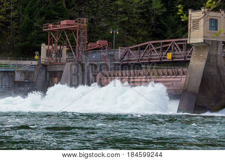 Heavy flows on the McKenzie River and a failing dam work together to create excessive amounts of water coming through a single power turbine at the Leaburg Dam in Oregon.