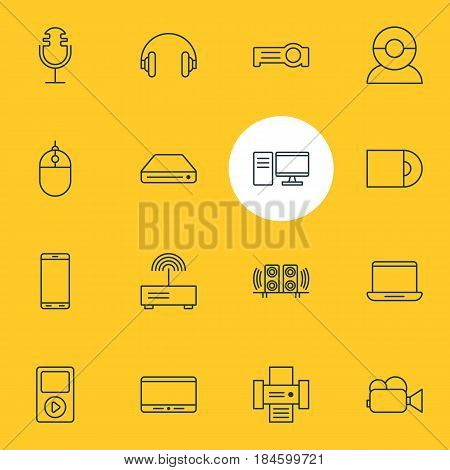 Vector Illustration Of 16 Hardware Icons. Editable Pack Of Loudspeaker, Photocopier, Sound Recording And Other Elements.