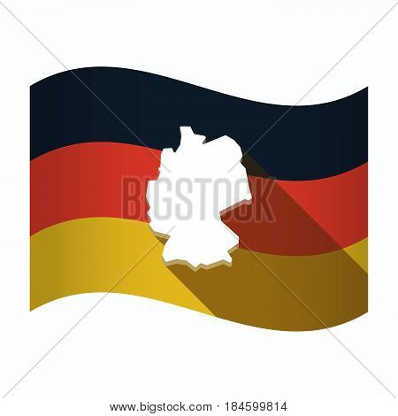 Isolated Germany Flag With  A Map Of Germany