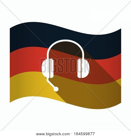 Isolated Germany Flag With  A Hands Free Phone Device