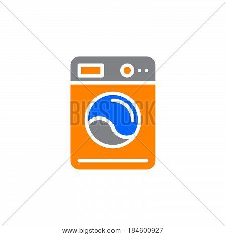 Washing machine icon vector filled flat sign solid colorful pictogram isolated on white. Laundry symbol logo illustration