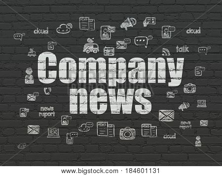 News concept: Painted white text Company News on Black Brick wall background with  Hand Drawn News Icons