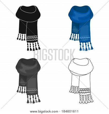 Blue felt scarf with beautiful patterns.Scarves and shawls single icon in cartoon style vector symbol stock web illustration.