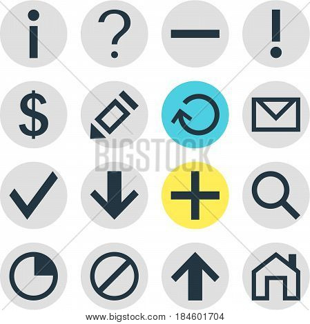 Vector Illustration Of 16 Member Icons. Editable Pack Of Stopwatch, Plus, Alert And Other Elements.