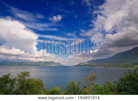 Lake Toba from Tuk-Tuk panoramic indonesian landscape North Sumatra Indonesia