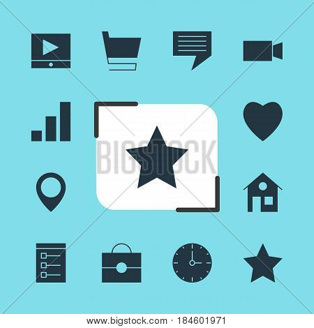 Vector Illustration Of 12 Web Icons. Editable Pack Of House, Clock, Trolley And Other Elements.