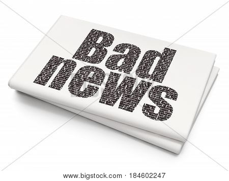 News concept: Pixelated black text Bad News on Blank Newspaper background, 3D rendering