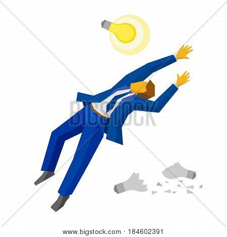 Jumping businessman catch a lamp. Some broken lamps at the ground. Business metaphors - new idea concept, unrealized ideas. Flat style vector clip art isolated on white background.