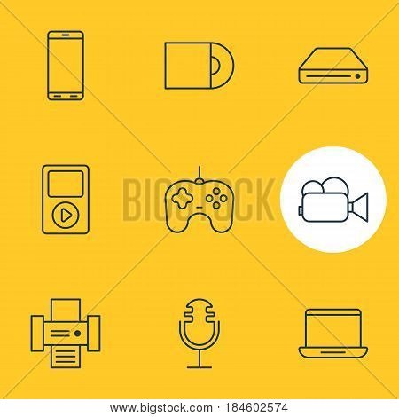 Vector Illustration Of 9 Device Icons. Editable Pack Of Computer, Smartphone, Joypad And Other Elements.
