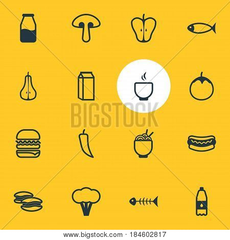 Vector Illustration Of 16 Cooking Icons. Editable Pack Of Cruet, Cotton, Fungus And Other Elements.