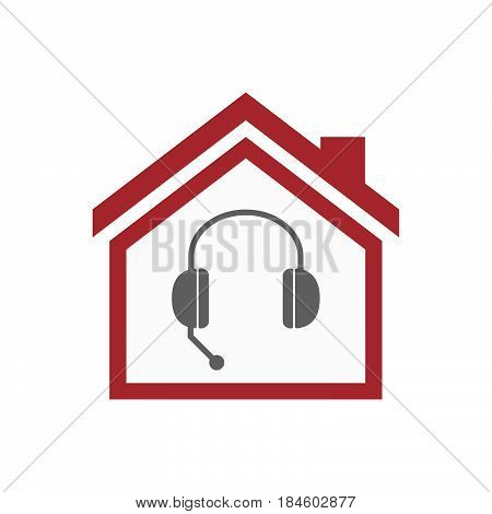 Isolated House With  A Hands Free Phone Device