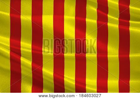 Flag of Langon is a commune in the Gironde department in Nouvelle-Aquitaine in southwestern France. 3D illustration
