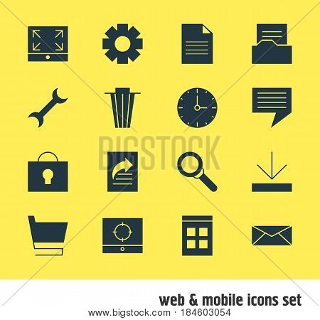 Vector Illustration Of 16 Internet Icons. Editable Pack Of Keyhole, Letter, Document Transfer And Other Elements.