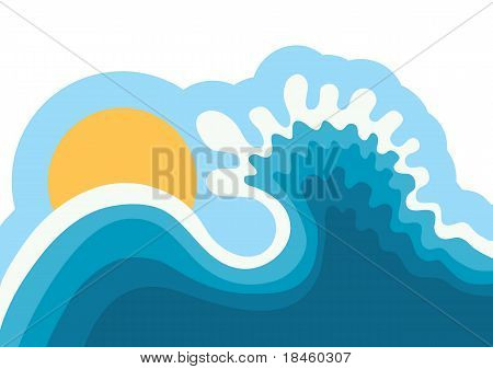 Wave In Ocean.water Background For Surfing With Sun.