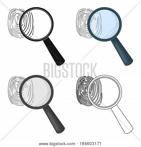 Magnifier and fingerprint. Detection of criminals by fingerprint.Prison single icon in cartoon style vector symbol stock web illustration.
