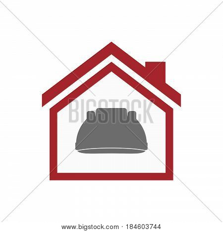 Isolated House With A Work Helmet