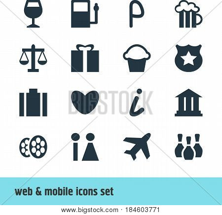 Vector Illustration Of 16 Map Icons. Editable Pack Of Skittles, Scales, University And Other Elements.