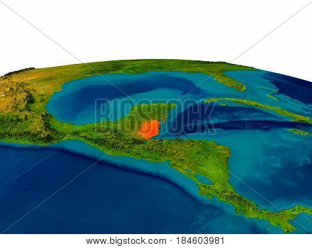 Belize On Model Of Planet Earth