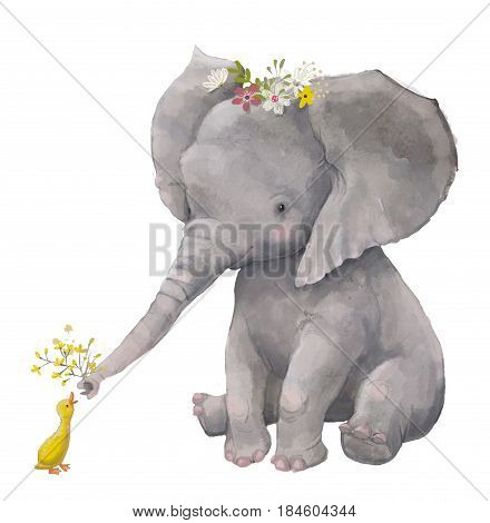cute elephant with floral wreath and little duck