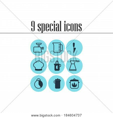 Vector Illustration Of 9 Restaurant Icons. Editable Pack Of Chef Hat, Stewpot, Mincer And Other Elements.