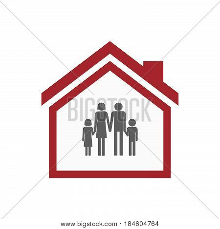 Isolated House With A Conventional Family Pictogram