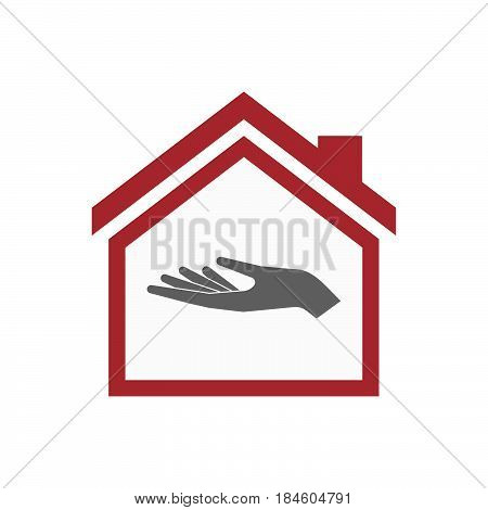 Isolated House With A Hand Offering