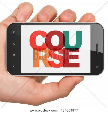 Studying concept: Hand Holding Smartphone with Painted multicolor text Course on display, 3D rendering