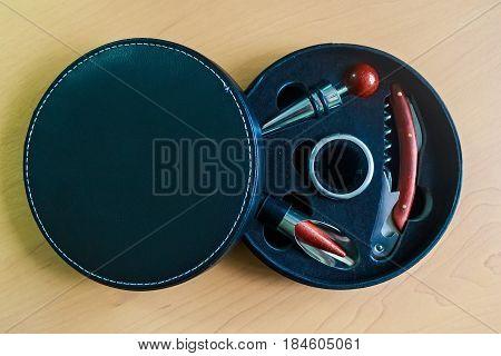 Close up black round box with three bar tools