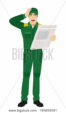 Bad news. Worker with newspaper grabbed his head. Full length portrait of Delivery man or Worker Character in a flat style. Vector illustration.
