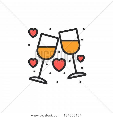 Clinking Wine Glasses Stemware and hearts line icon filled outline vector sign linear colorful pictogram isolated on white. Symbol logo illustration