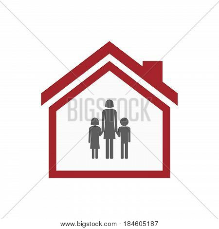 Isolated House With A Female Single Parent Family Pictogram
