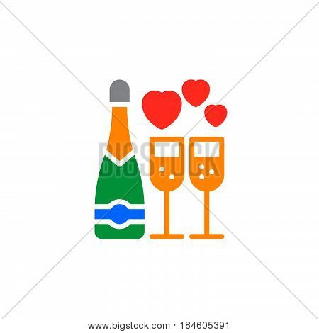 Wine champagne bottle and wine glass with hearts icon vector filled flat sign solid colorful pictogram isolated on white. Symbol logo illustration