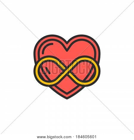 Eternal love line icon filled outline vector sign linear colorful pictogram isolated on white. Heart with infinity symbol logo illustration