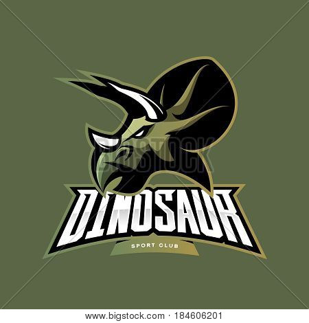 Furious dinosaur sport club vector logo concept isolated on khaki background. Modern team badge mascot design. Premium quality wild reptile t-shirt tee print illustration. Savage monster icon.