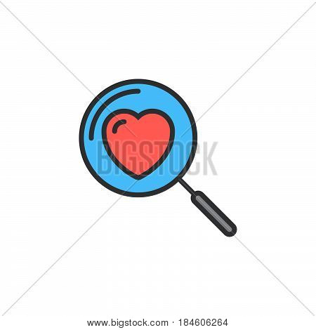 Magnifying glass with heart line icon filled outline vector sign linear colorful pictogram isolated on white. Searching A Love Symbol logo illustration