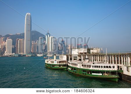 HONG KONG - APRIL 2: Star Ferry in Victoria harbor on April 2, 2017 in Hong Kong, China. Hong Kong ferry is in operation for more than 120 years and is one of attractions of the city.