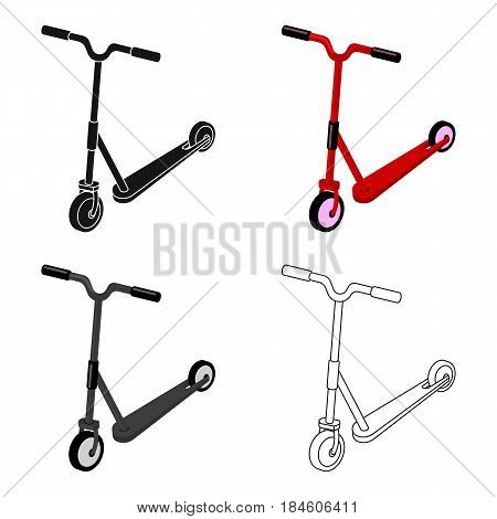 Children red scooter. Transport for children walks.Transport single icon in cartoon style vector symbol stock web illustration.