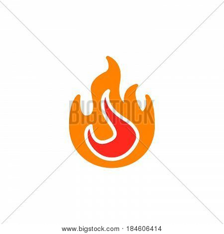 Fire flame icon vector filled flat sign solid colorful pictogram isolated on white. Symbol logo illustration