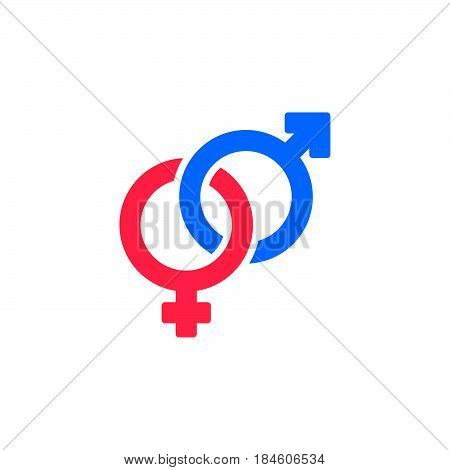 Heterosexual gender symbol icon vector male and female flat sign solid colorful pictogram isolated on white. Logo illustration
