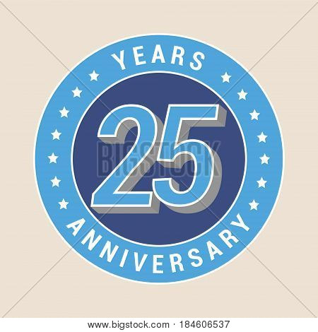 25 years anniversary vector icon emblem. Design element with blue color medal as a banner for 25th anniversary