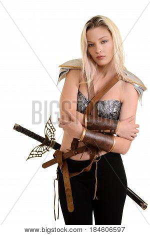 female warrior hugging herself on white background