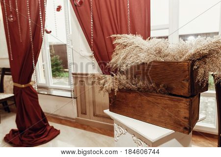Rustic Decor With Wooden Box And Herbs, Wedding Arch And Aisle, Decorated Place For Wedding Ceremony