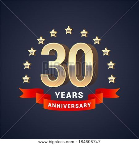 30 years anniversary vector icon logo. Graphic design element with golden 3D numbers for 30th anniversary decoration