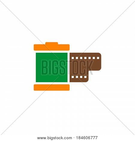 Film cartridge icon vector filled flat sign solid colorful pictogram isolated on white. Symbol logo illustration
